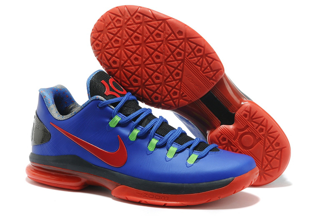 Nike Mens KD V Elite low Color Matching Royal Blue/Red Basketball Shoes