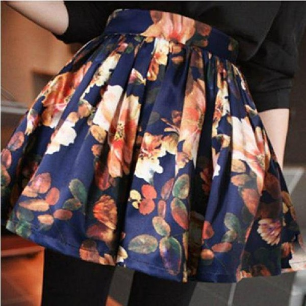 skirt floral blue skirt vintage floral skirt cute floral vintage retro retro skirt printed skirt floral skater skirt
