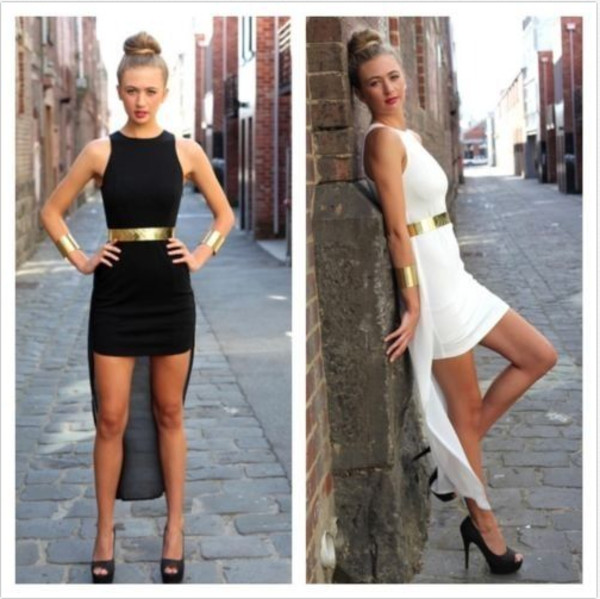 dress black short long sexy pretty gold formal dress sleeveless sexy party dresses high low