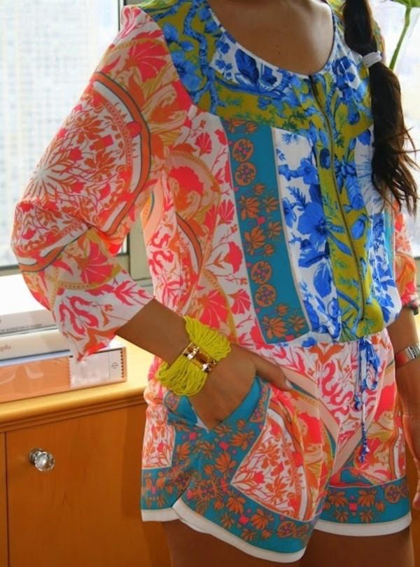 dress romper neon floral shirt summertime colored romper blouse