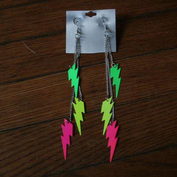 Womens 80s Neon LIGHTNING Bolt EARRINGS / 80s earrings //Festivals on Wanelo