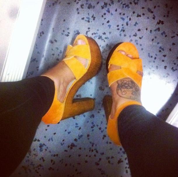 shoes orange heels sandal heels