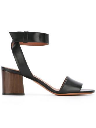 paris women sandals leather black shoes