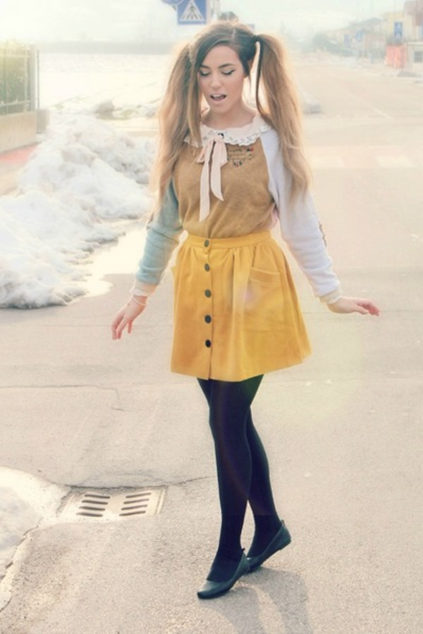 shirt long sleeves cutiepiemarzia pretty collar peter pan collar ribbon yellow ribbon skirt