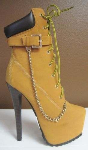 Lace Up Chain Buckle Platform Stiletto Heel Ankle Construction Boots Shoe Tan | eBay