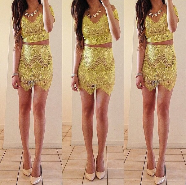skirt yellow two-piece two-piece crop tops embrodering crop tops nude shoes