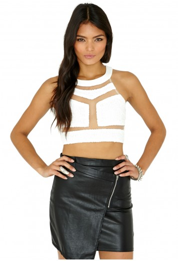 Saloma Mesh Detail Sequin Crop Top - Tops - Bralets and Crop Tops - Missguided