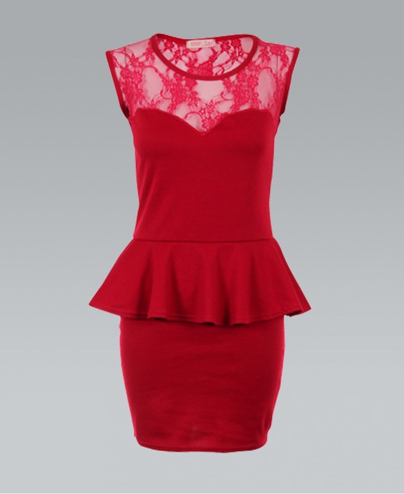 Red Cocktail Dress - Red Lace Back Sleeveless Peplum   UsTrendy