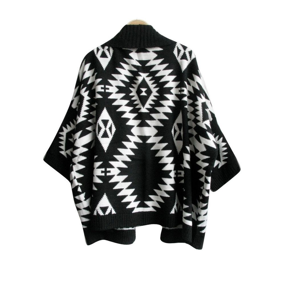 Vintage Lady's Aztec Print Wrap Cape Cardigan Oversized Open Front Sweater Black | eBay