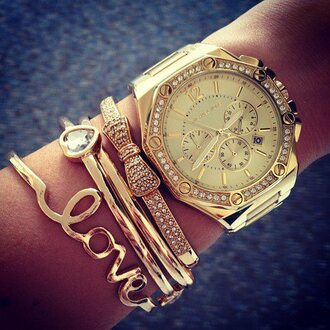 jewels bracelets watch gold chic michael kors gold ring gold accessories love bracelets rose gold trendy clothes jewelry bows glitter diamonds heart love culture michael kors watch ring girly
