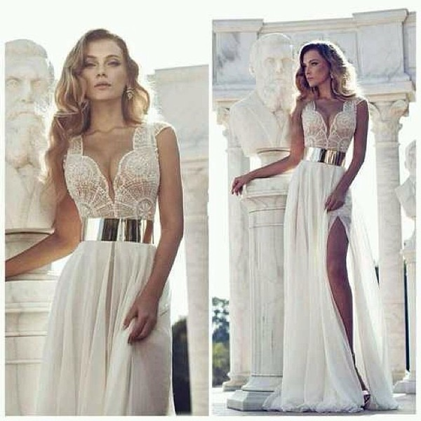 wedding dress white dress lace dress v neck dress slit dress waist belt dress
