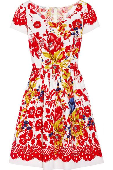 Oscar de la Renta Printed stretch-cotton dress NET-A-PORTER.COM