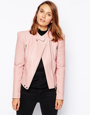 ASOS | ASOS Leather Look Jacket with Structured Shoulder at ASOS