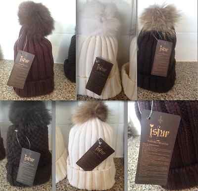 Luxurious Real Fox Fur Pom Pom Wool Knitted Hat Beanie Ski Hat Wollie | eBay