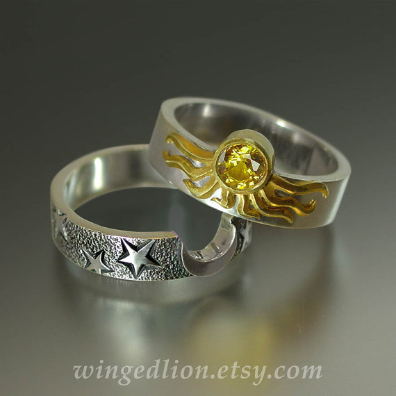 Sun and Moon ECLIPSE Engagement Ring and Wedding by WingedLion