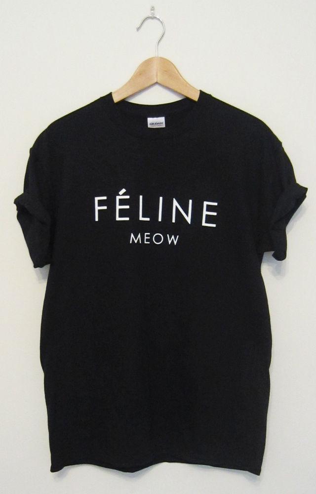 Feline Meow Cat Hipster T Shirt Cara Tumblr Dope Swag Top Men Ladies Women | eBay