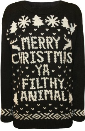 Amazon.com: PaperMoon Women's Merry Christmas Ya Filthy Animal Knitted Sweater: Clothing