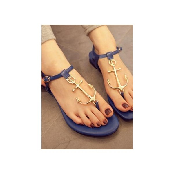 Ocean Navy Anchor Thong Sandals - Polyvore