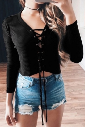 sweater black crop tops cropped sweater lace up