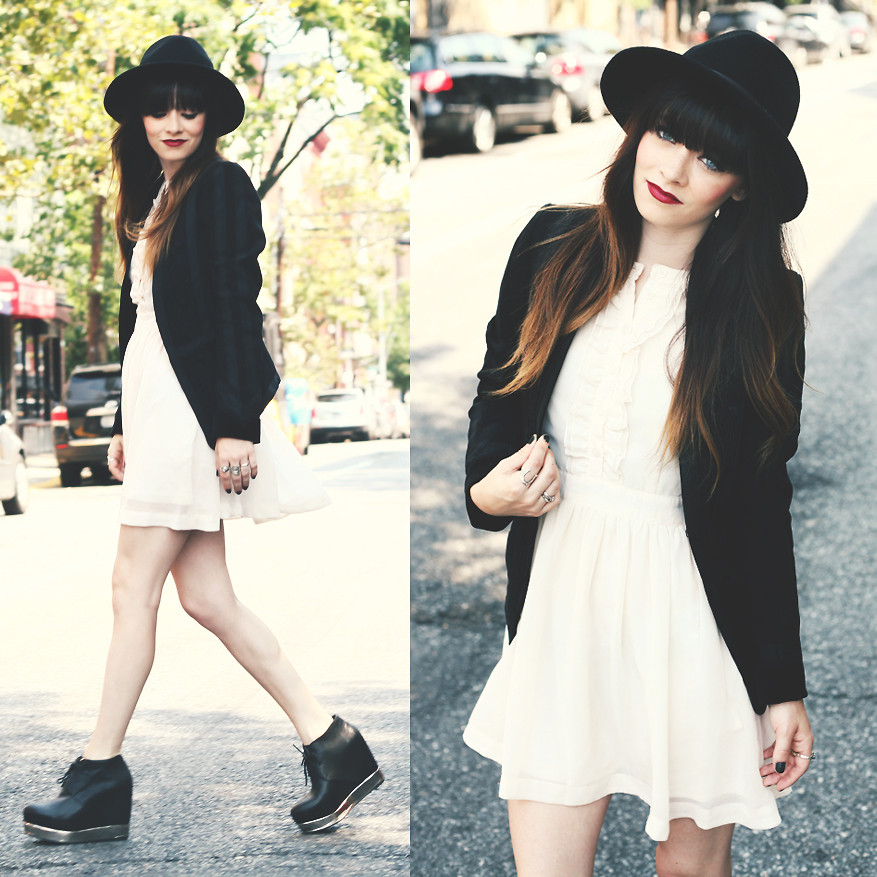 Rachel-Marie Iwanyszyn - Hat, H&M Cream Dress, Jeffrey Campbell Boots, H&M Black Blazer - TRAVERSE CITY. | LOOKBOOK