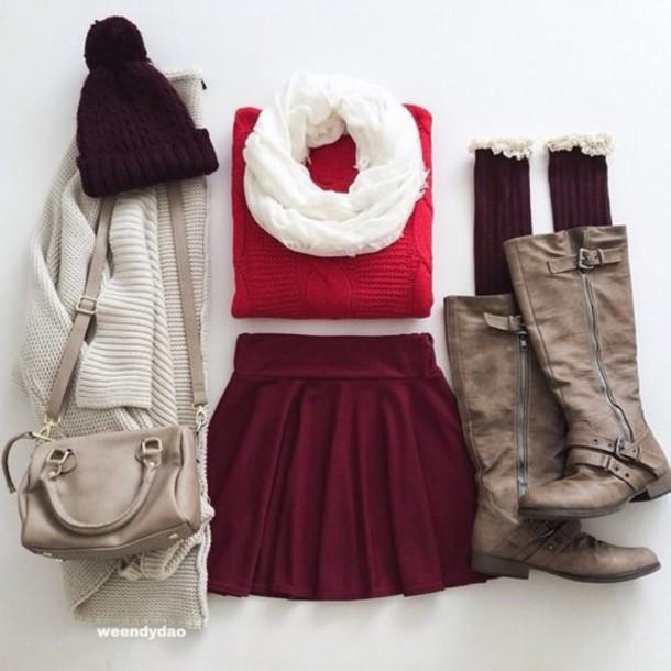 hat cardigan scarf sweater skirt shoes socks