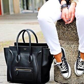 bag celine celine bag celine black bag converse cool girl style paris celine paris t shirt shoes pants