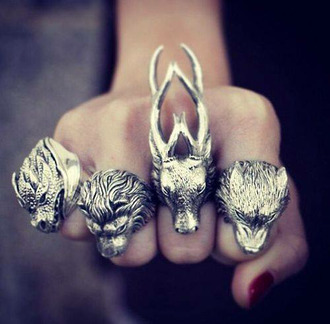 jewels wolf dragon lion aristocrazy game of thrones ring deer silver animals silver ring statement ring animal rings vintage animal ring amazing grunge grunge jewelry metallic jewelry stark baratheon targaryen winter is coming