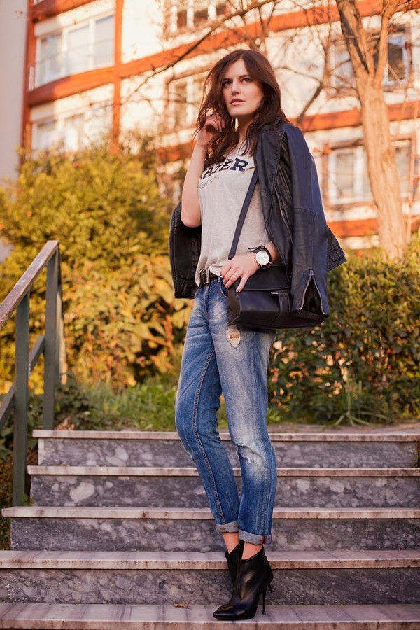 the bow-tie jacket t-shirt jeans shoes bag dress jewels