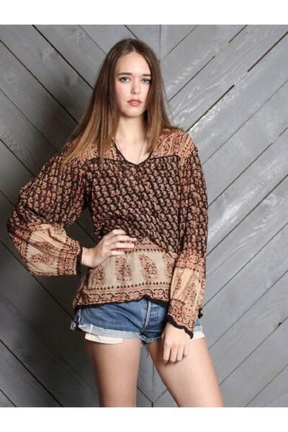 blouse tunic blouse gypsy blouse beige khaki indian cotton indian gauze Californication tunic top hippie top hippie blouse gypsy boho festival top