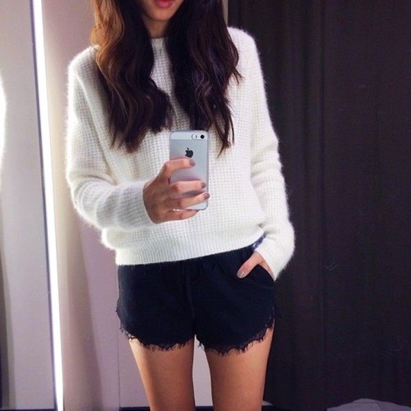 shorts black shorts lace shorts sweater shoes black lace details tumblr tumblr girl cute outfits