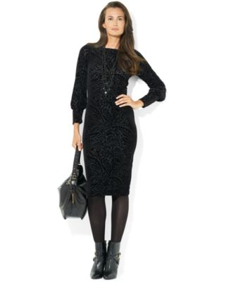 Lauren Ralph Lauren Long-Sleeve Wool Sweater Dress - Dresses - Women - Macy's