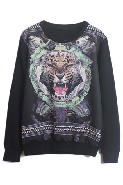 ROMWE | Black Long Sleeve Tiger Skull Print Sweatshirt, The Latest Street Fashion
