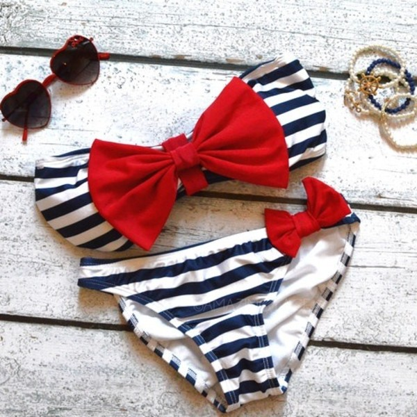swimwear red royal blue stripes bow swimwear clothes summer sunglasses white blue bikini marine stripes navy Top Strapples hipster bikini bandeau bikini black favor bows cute nautical sailor two-piece bandeau nautical bows red navy now bow bandeau black and white top bottom heart sunglasses kawaii sweet stripes bow nautical