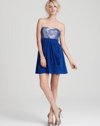 Aqua Sequin Strapless Dress | Bloomingdale's