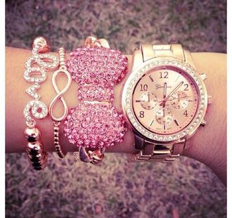 jewels braccelets pink pink jewels pink sparkly bowtie bracelets watch gold watch diamonds accessories girly gold pink bracelets love forever bows pink bow bracelet bow jewelry amazon geneva bow rhinestones