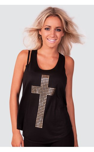 Lola Studded Cross Print Vest Top In Black -  from The Fashion Bible  UK