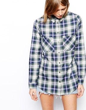 ASOS | ASOS Long Sleeve Soft Green Check Shirt at ASOS