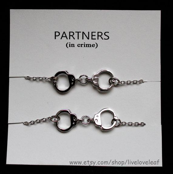 Set of 2 Rhodium plated Handcuffs bracelets by LiveLoveLeaf