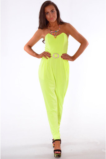 Ladies Eneco Bandeau Style Jumpsuit In Neon Yellow at Pop Couture UK