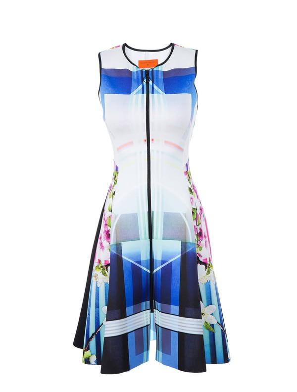 dress zip front floral neoprene dress clover canyon