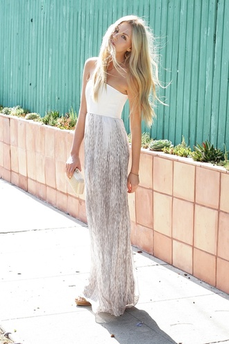 dress swimwear maxi skirt maxi dress prom dress summer dress high waisted skirt boho light airy tumblr white white dress long dress long grey silver skirt girl summer sund blogger blogger style hipster long prom dress blonde hair maxi one shoulder strapless grey dress