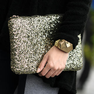 Sequined Zip Handbag, Gold , One Size - SO Central | YESSTYLE