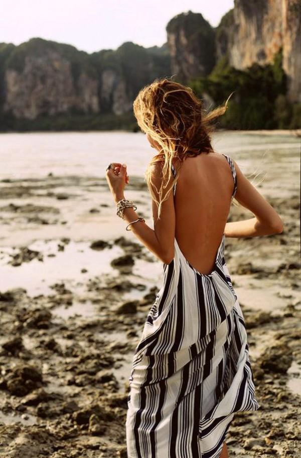 dress backless stripes black white grey summer boho maxi dress backless dress