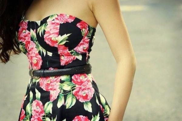 dress floral black pink strapless dress