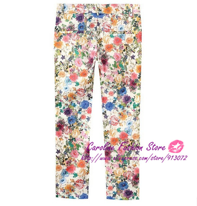 KZ161 New Fashion Ladies' elegant color Floral print pants Trousers stylish casual slim pants quality brand designer trousers-in Pants & Capris from Apparel & Accessories on Aliexpress.com