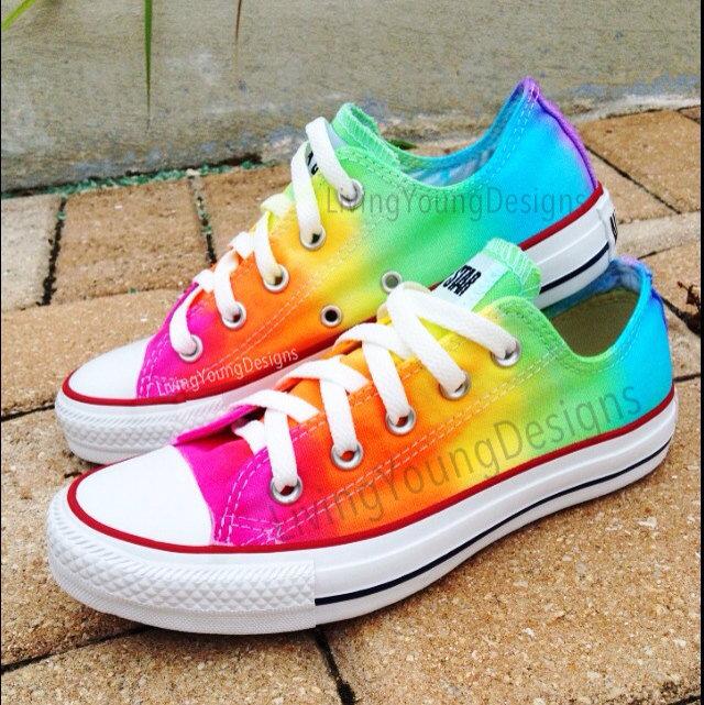 RAINBOW CONVERSE Custom Tie Dye Converse by LivingYoungDesigns on Wanelo