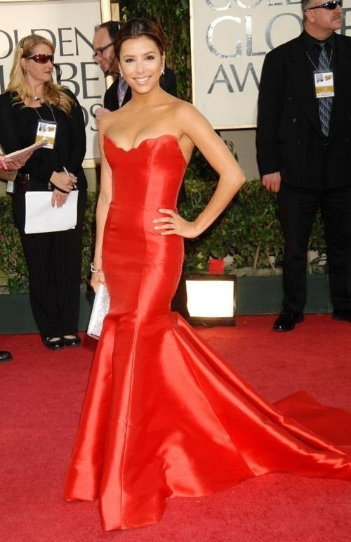 Eva Longoria Strapless Red Satin Mermaid Evening Prom Gown Celebrity Dress Golden Globes 2009-in Celebrity-Inspired Dresses from Apparel & Accessories on Aliexpress.com