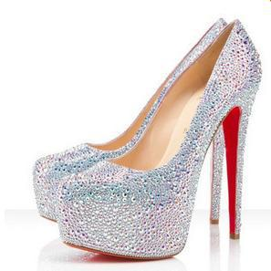 hot sale 2014 Star shallow mouth red white ultra high heels platform rhinestone crystal bridal shoes 33 41 free shiping-inPumps from Shoes on Aliexpress.com