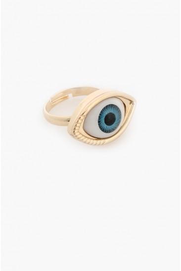LoveMelrose.com From Harry & Molly   Blue Eye Ball Ring -Gold