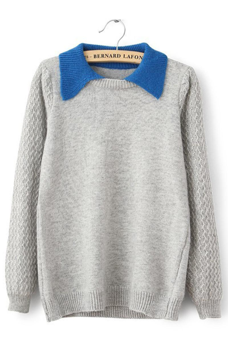 Doll Collar Loose All-match Pullover Knit Sweater,Cheap in Wendybox.com